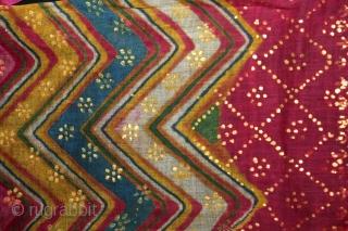 Panch Rangi Laheriya Pagh(Turban) Worn During the Monsoon Fine cotton Mull-Mull,Gold Paste.C.1900.Royals family Rajasthan India.Length 15 to 18 miter.(DSL02860).