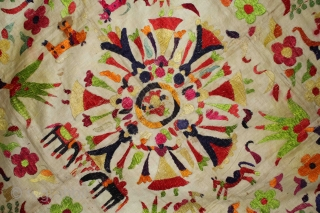 Chamba Rumal from Himachal Pradesh India.Krishna and Gopis dancing (rasa leela)Ganesha in the center Rasa.Cotton Silk Embroidered 19th century.Its size is 79cm x 79cm.(DSL02870).