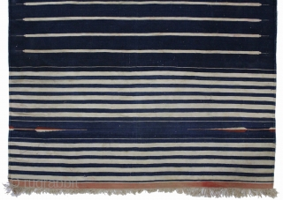 Jail Dhurrie(cotton)Natural Indigo and tightly woven From Bikaner Rajsthan India.C.1900.Its size is 110cm x 185cm.(DSL02890).