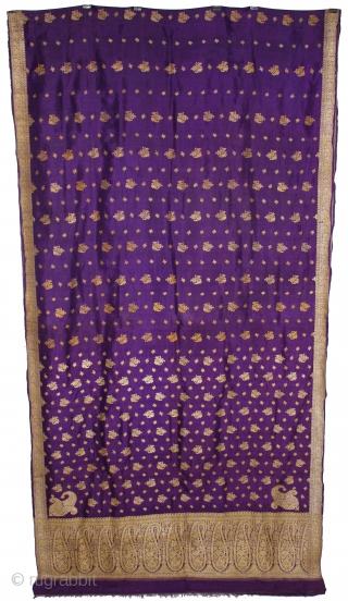 Vintage Pitambari Saree hand woven zari (silver treads) saree from Varanasi called As Pitambari Saree of late 19th century.Made to order for some Royal Rajput Family.Extremely Fine Saree.(DSL02910).