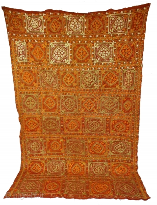 Folk Phulkari from East(Punjab)India Called As Phulkari. Rare Design.Extremely Fine Condition(DSC01150).