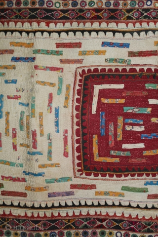Baby Quilt Embroidered and Appliqued work Made by Gadhvi Community of Dwarka region of Saurashtra Gujrat. India.Very Fine Mirror and Patch work.Very unusual and rare to find such quilts.Its size is 58cm  ...