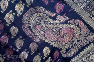 Rare Baluchar Sari with Kalka Buti woven in silk Brocade From Murshidabad,West Bengal,India.19th century.Each corner of Paisley Design.(DSL02940).