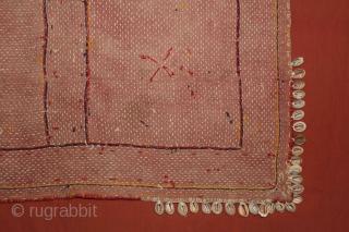 Banjara Asana (Mat) Banjara community,Center India,early 20th century. Cotton,embroidered with cotton thread.Its size is 65cm x 68cm.(DSC01165).