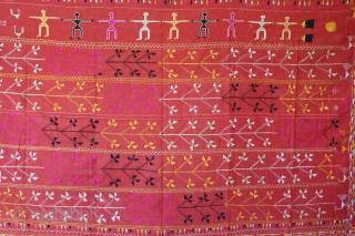 Vintage Phulkari from East(Punjab)India Called As Bella(Grove)Phulkari. One of the rare design in Indian Phulkari.(DSC01160).