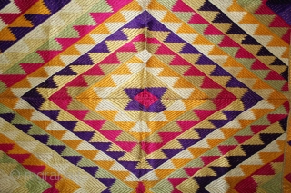 Panch Rangi Rumal From West(Pakistan)Punjab India.Its size is 92cm X 80cm.One of the rare Rumal in Indian Phulkari.(DSL01835).