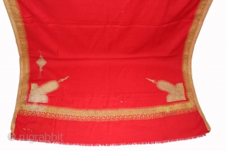 Red Wool Kashmir Shawl,Real Zari Work From kashmir India Called As Dushala. Its size is 122cm x 224cm.(DSL01960).