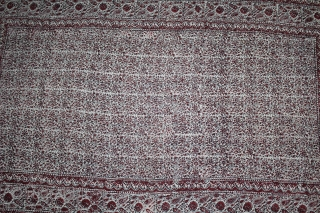Rajai Cover Double-Sided Block Print on Cotton Khadi From Rajasthan India.C.1900.Its size is 150cm x 250cm.(DSL02460).