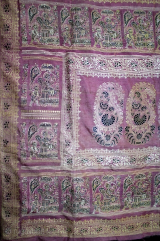 Rare Pallav of a Baluchar Sari woven in silk Brocade From Murshidabad,West Bengal,India.Circa 1900.Here the pallu of the sari is decorated with large paisleys set within a border of human figures, only  ...