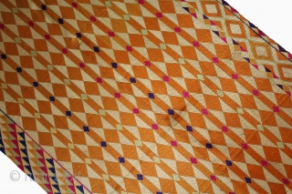 Phulkari from West(Pakistan)Punjab India Called As Diamond Bagh.Very Rare Panchrangi Border Design.Extremely Fine Phulkari.(DSL02010).