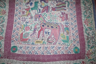 Vintage Kantha embroidery with cotton thread Kantha Probably From East Bengal(Bangladesh)Region India.C.1900.Its size is 113cm X 155cm. Used condition.(DSL02020).