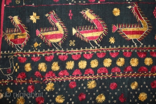 Indigo Sainchi Phulkari From East(Punjab)India.C.1900.Rare Design.Proper Shahkot Moga District of Punjab India.Extremely Fine Phulkari.(DSE02520).