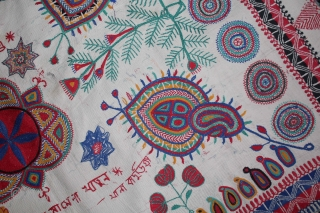 Vintage Kantha embroidery with cotton thread Kantha Probably From East Bengal(Bangladesh)Region India.C.1900.Its size is 84cm x 108cm.(DSL02030).