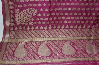 Rare Vintage Pitambari Saree hand woven zari (silver treads) saree from Varanasi called As Pitambari Saree of late 19th century.Made to order for some Royal Rajput Family.(DSL02070).