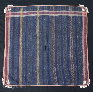 Banjara Square Quilted and Embroidered with Cowrie Shells, From Madhya Pradesh, India.C.1930. Made by the Banjara of the Deccan Plateau.Its size is 92cm X 96cm