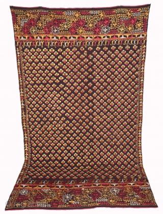 Vintage Indigo Phulkari From East(Punjab)India Called As Mughal Buti phulkari.Proper Bhatinda District of Punjab India.Rare Design.Extremely Fine Phulkari.(DSC01460).