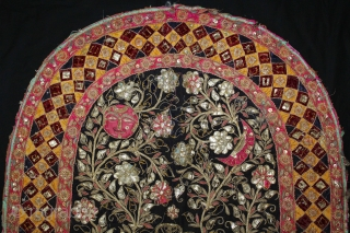 Jain Temple Hanging From Patan Gujarat,India.Circa.1900.Silver and gold embroidery Cotton-Velvet. Its size is 52cm X 66cm.(DSE03940).