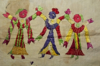 Chamba Rumal from Himachal Pradesh India.Krishna in the center and both side Gopis. Cotton Silk Embroidered.Its size is 40cm x 40cm.(DSL02080).