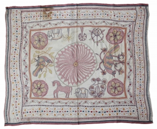 Vintage Kantha embroidery with cotton thread Kantha Probably From East Bengal(Bangladesh)Region India.C.1900.Its size is 96cm x 118cm.(DSL02090).