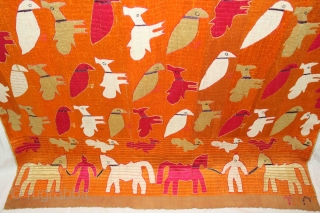 Phulkari from East (Punjab) India.This phulkari is a type Known As TOTA (parrot) with PEACOCK bagh (garden) because it depicts a colorful display of birds in a repetitive pattern across densely embroidered  ...