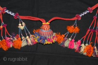 Rare Camel Necklace Decoration From Rajasthan India.C.1900.On Cotton and Vegetable Colour.Used on the Special Occasions.Its size is length 95cm.(DSL03330).