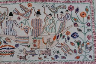 Vintage Kantha Embroidered with cotton thread Kantha Probably From Faridpur District of East Bengal(Bangladesh)Region India.Circa.1930.Its size is 52cm x 92cm.(DSL02620).