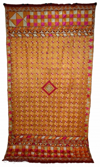 Phulkari From East(Punjab)India Called As Chaurasia Bagh.Rare Design.Floss Silk on Hand Spun Cotton khaddar Cloth.Mind Condition.Its size is 125cm X 240cm.(DSL03340).
