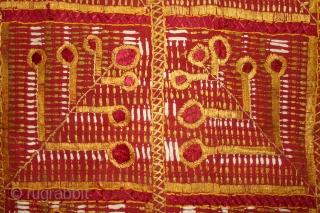 Phulkari from East(Punjab) India Called As Mor Pankh Design phulkari. One of the rare design in Indian Phulkari.(DSL02120)