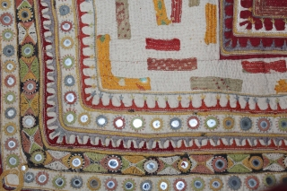 Baby Quilt Embroidered and Appliqued work Made by Gadhvi Community of Dwarka region of Saurashtra Gujrat. India.Very Fine Mirror and Patch work.Very unusual and rare to find such quilts.Its size is 69cm  ...