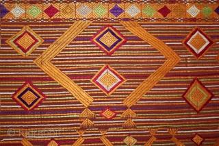 Phulkari From East(Punjab)India Called As Sarpallu(Patang Design) Bagh.Rare Design.Floss Silk on Hand Spun Cotton khaddar Cloth.Mind Condition.Its size is 124cm x 228cm.(DSL03420).