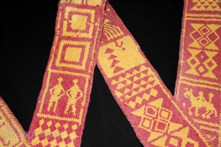 Rare Vintage Tung The camel decoration belt from Rajasthan India.On Cotton and Vegetable Colour.Its size is 8cm X 204cm. One of the Rare Design.(DSL02130).