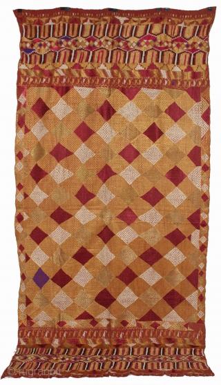 Phulkari from East(Punjab) India Called As Darshan Darwaja Design Bagh. One of the rare design in Indian Phulkari(DSE02170).