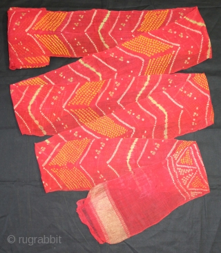 """Turban(Pagh) Tie and Dye,Worn During the Monsoon Fine cotton Mull-Mull Early 20""""Century. Royals family Rajasthan India.Length 15 to 18 miter.(DSL02710)."""