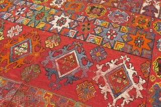 Rabat carpet of very unusual large size, Morocco, late 19th / early 20th century, 500 x 250 cm (16' 4'' x 8' 2''). Fair condition according to age with areas of low  ...