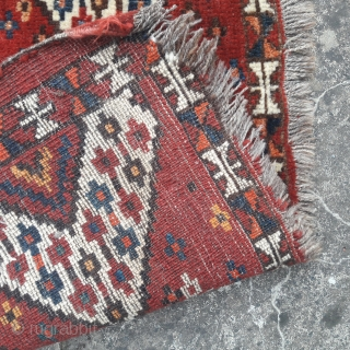 Battered antique Beshir torba, great design and strong natural colouring. 53in by 13in