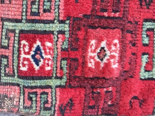 19th century Malatya area yuruk/kurd fragment, fully conserved. Thick glossy wool in a fantastic range of saturated colours 39in wide by 57in long