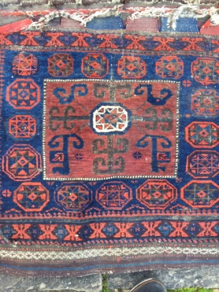 Antique Belouch bag pair, in original as found condition Colours good, but in desperate need of a wash and some t.l.c.  Approx 140cm by 40cm