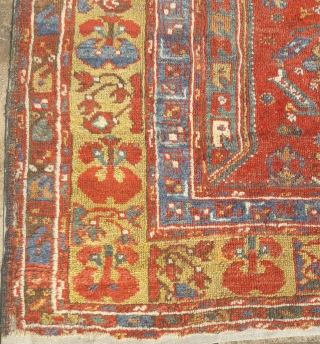 Early 19th century Anatolian prayer rug, probably from the Menderes valley, mounted.  A stunning village piece, generally full pile with great colour and good condition for its age. 56in by 52in