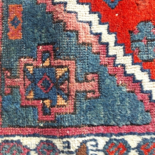 """Interesting East Anatolian yastik, with old faded repairs in the middle. This piece was published in Brian Morehouses's """"Yastic"""", no 120 Both ends rewoven in 1980s, I believe, ex Keith Holmes collection. 22in by  ..."""