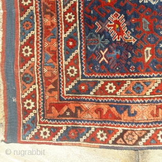 19th century Bergama rug, good colours, good condition for it's age, minor small repairs 47in by 53in