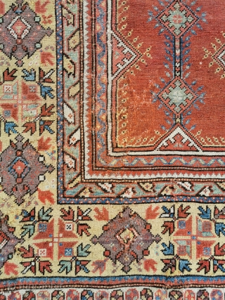 19th century Melas rug with extensive old reweaves (reflected in the price) Good saturated colours  57in by 40in