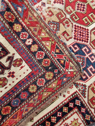 Shirvan prayer rug, about 1870, fairly rare design. 67in by 38in This piece needs some t.l.c. missing outer guard border, and losses to pile