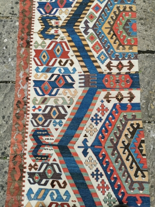 Aydenli kelim panel, early 19th century. Great colour and graphics, some small amateur repairs, brown wool corroded in several places 144in by 30in
