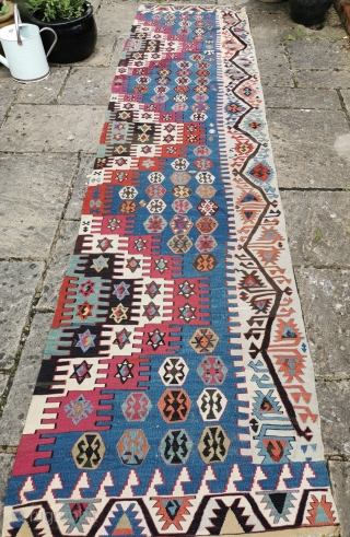 Antique Malatya kelim panel, good colours, good condition 139in by 34in