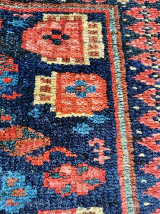 Antique Kurdish bagface, great colours, great condition, with an unusual and animated design 26in by 25in