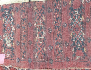 Late 19th century Ersari chuval, soft wool, good colors, but very distressed