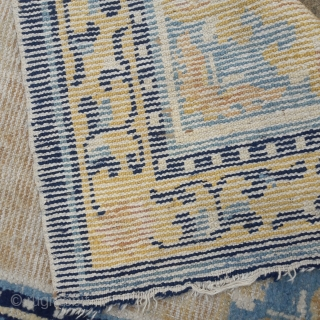 18th century Ningsia rug, subtley sophisticated, but showing signs of its age 52in by 28in