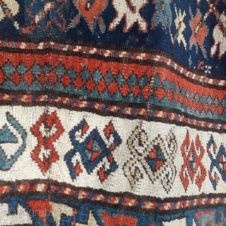 Antique Caucasian prayer rug, good colours, some minor tension repairs