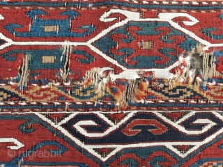 Mid 19th century Caucasian mafrash panel, in original distressed condition 34in by 16in
