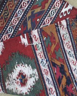 Pair of early 20th century Caucasian mafrash end panels, stunning saturated colours,